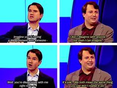 """When David didn't argue with Jimmy Carr. 26 Times """"Would I Lie To You?"""" Was The Best Show On Television British Humor, British Comedy, You Funny, Hilarious, Funny Shit, Funny Stuff, Mark Corrigan, Jimmy Carr, David Mitchell"""