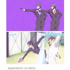 LOL can't believe they managed to make a expectation vs reality for dis XD Not bad! Vocaloid, Swimming Anime, Splash Free, Otaku, Free Eternal Summer, Makoharu, Free Iwatobi Swim Club, Another Anime, Swim Team