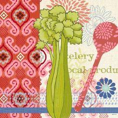 Kitchen Brights Veg Celery by Jennifer Brinley Cafe Pictures, Vegetable Design, Food Doodles, Kitchen Wall Art, Food Illustrations, Celery, Artist, Graphics, Draw
