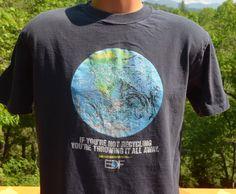 vintage tee shirt RECYCLING save environment love hippie earth black 80s t-shirt Medium Large by skippyhaha
