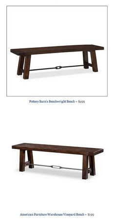 COPY CAT CHIC FIND: Pottery Barn's Benchwright Bench VS American Furniture Warehouse Vineyard Bench
