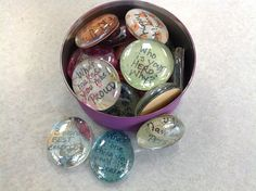 The Middle School Counselor: Icebreakers. Clear stones (buy at Hobby Lobby, Jo-Ann's, Michaels) with question on it. Student answers the stone they picked.