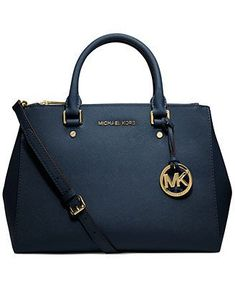 Women's Top-Handle Handbags - MICHAEL Michael Kors Sutton Navy Medium Saffiano Leather Satchel >>> Check out this great product. Outlet Michael Kors, Sac Michael Kors, Cheap Michael Kors, Handbags Michael Kors, Leather Satchel, Leather Purses, Leather Handbags, Black Satchel, Leather Totes
