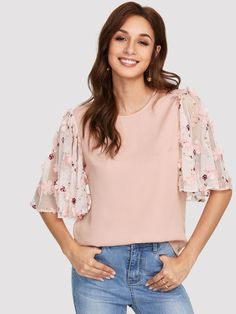 b47673456a Flower Applique Mesh Sleeve Top -SheIn(Sheinside) Batwing Sleeve, Pies,  Glamour