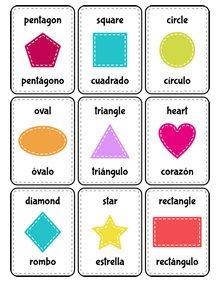 tarjetas recortables español-inglés Spanish vocabulary for shapes  #Spanish…