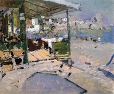 Konstantin Korovin (Russian 1861–1939) [Impressionism, Art Nouveau] On the beach in the Crimea, 1909.
