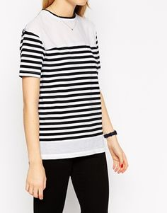 Enlarge ASOS Top In Stripe With Woven Panels