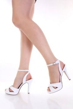 $24 White Faux Patent Leather Cross Strap Ankle Buckle Platform Heels