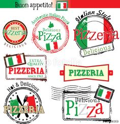 Vector: Set of vintage styled pizza labels