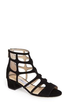 Free shipping and returns on Jimmy Choo Ren Block Heel Sandal (Women) at Nordstrom.com. The gladiator sandal gets a minimalist update with Italian suede straps and a demure peep toe. A logo-embossed zipper pull adds to the signature style, while a short block heel completes the stunning look.