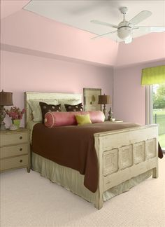 pink, brown bedroom