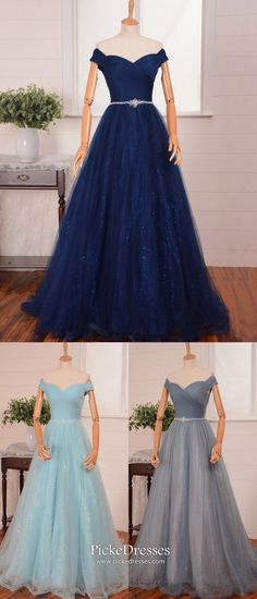 Long Prom Dresses Dark Navy, Modest Evening Dresses A Line, Senior Graduation Dresses Off The Shoulder, Elegant Pageant Dresses Tulle