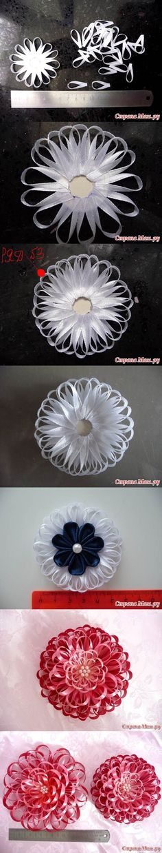 DIY Narrow Satin Ribbon Flower #craft #ribbon #flower