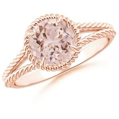 Claw-Set Morganite Twisted Rope Split Shank Ring (2.980 BRL) ❤ liked on Polyvore featuring jewelry, rings, accessories, anel, morganite, claw jewelry, rope jewelry, twisted rope ring, rope ring and twist jewelry