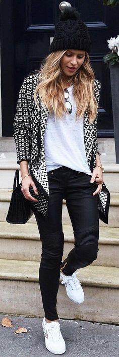#winter #fashion /  Printed Aztec Blazer + Black Beanie
