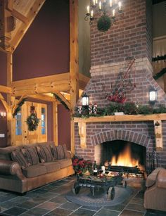 Cozy and warm ... http://www.timberhomeliving.com/wp-content/uploads/2011/11/Red-Brick-Fireplace-wood-mantel.jpg. ... Uploaded with Pinterest Android app. Get it here: http://bit.ly/w38r4m