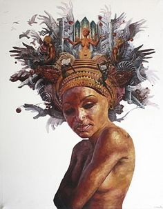 """""""Uprooted Innocence"""" - Allen Passalaqua, mixed media on canvas {contemporary figurative artist female headdress african-american black woman painting}"""