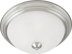 Maxim 5840 1 Light Wide Flush Mount Ceiling Fixture from the Essentials - Satin Nickel / Marble Glass Indoor Lighting Ceiling Fixtures Flush Residential Lighting, Essentials, Maxim Lighting, Thing 1, Grey Glass, Satin, Flush Mount Lighting, Glass Marbles, Ceiling Fixtures