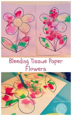 Bleeding Tissue Paper Flowers, fun craft idea for spring. Toddlers and preschoolers will love this flower craft idea and enjoy watching the process of the colours bleed through from the tissue paper.