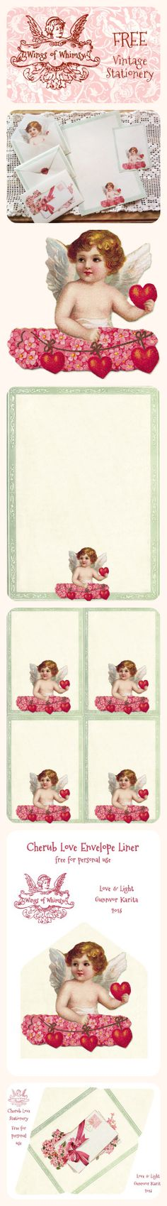 Wings of Whimsy: Vintage Stationery - free for personal use #printable #freebie #valentine envelope liners