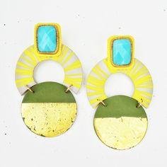Bold, bright and contemporary earrings from Nina Zabal. Artisan Jewelry, Wearable Art, Symbols, Bright, Contemporary, Earrings, Ear Rings, Stud Earrings, Icons