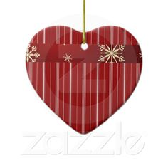 White and Red Striped heart ornament from Zazzle.com