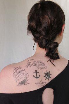 nautical tattoo pack- 5 temporary tattoos