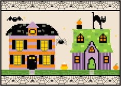 Halloween Village Cross Stitch Pattern 7x5 by EpicStitchery