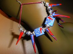 Houston Texans Spiked Polymer Clay Earrings by CherrysOriginals, $25.00 SOLD