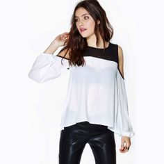 Black-And-White Patchwork Sexy Off Shoulder O-Neck Elastic Cuff Long-Sleeve Pullover Sheer Shirts Chiffon Blouse for Women 2014 US $12.75