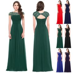 eceae57c10 Women Lace Long Evening Formal Party Cocktail Dress Bridesmaid Prom Gown  Fashion
