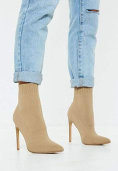 d1517cf59c1 Missguided Nude Knit Pointed Toe Sock Ankle Boot Nude Ankle Boots