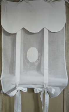 brise bise,voilages,rideaux,monogrammes,broderie,shabby : Store CHLOE blanc 45x160 cm