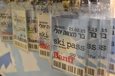 Ski Pass as table seating, snowboard bar mitzvah design
