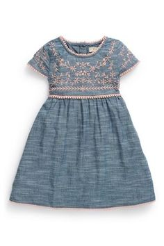 Online Fashion, Kids Clothes & Homeware Chambray Pink Embroidered Dress from Next Little Girl Outfits, Little Girl Fashion, Baby Outfits, Toddler Fashion, Toddler Outfits, Kids Outfits, Kids Fashion, Fashion Clothes, Toddler Dress