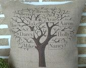 My Family Tree Burlap Personalized Pillow