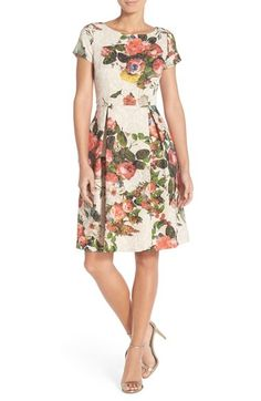 Adrianna Papell Floral Matelassé Fit & Flare Dress available at #Nordstrom