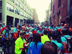 The #ClimateRide riders getting their first morning briefing, on Sept. 21, in #NYC, just before setting out on a 320-mile journey to Washington #DC.
