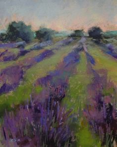 watercolor paintings of lavender | Lavender Field #3 with watercolor underpainting -- Karen Margulis