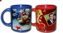 Blue & Red Mug.Customised with images / logo / oneliners / messages