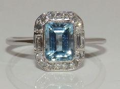 Art Deco 18ct White Gold Baguette 1.8ct Aquamarine & Diamond Cluster Ring Size O