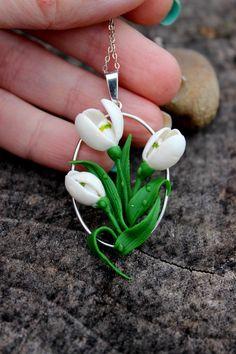 Wedding Snowdrops pendant silver 925 spring por Jewellrylimanska