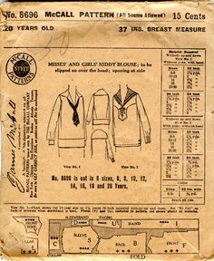 Unsung Sewing Patterns: McCall 8696 - Misses' and Girls' Middy Blouse.