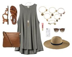 """""""Untitled #104"""" by xnicolemarieeeex ❤ liked on Polyvore featuring H&M, Kendra Scott, Alex and Ani, Uniqlo, Too Faced Cosmetics, Casetify, MICHAEL Michael Kors, Steve Madden and Ray-Ban"""