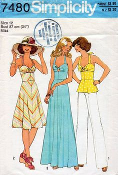 1970s+cocktail+maxi+halter+dress+pattern | 1970s Halter Tied Bodice Maxi Dress and Top Vintage Sewing Pattern ...