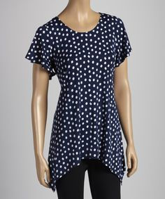 Take a look at this JostarUSA Navy Dot Sidetail Tunic on zulily today!