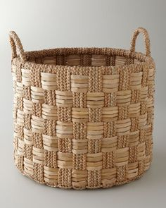 Seagrass Basket with Check Pattern - Horchow
