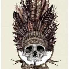 neat skull w/ indian headband