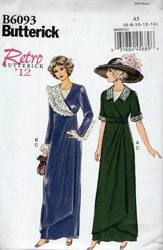Butterick B6093 ©2014 Adult Downton Abbey Style Costumes Sizes 6-14 FF - New Vintage Studio
