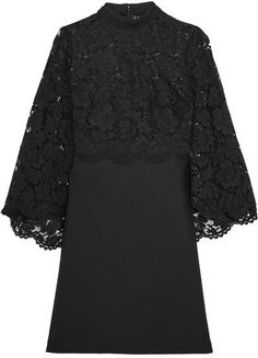Valentino - Cape-back Corded Lace And Wool-blend Mini Dress - Black